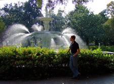 Savannah, a park fountain and me